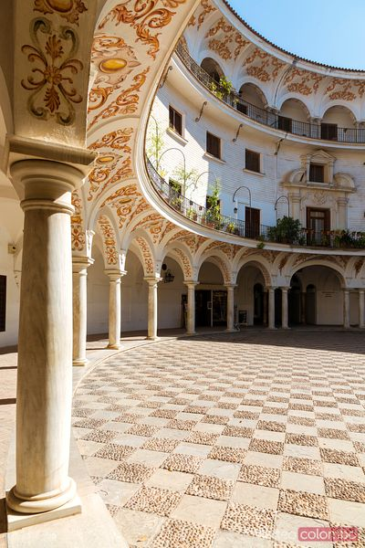 Typical andalusian ornate courtyard in Seville, Spain