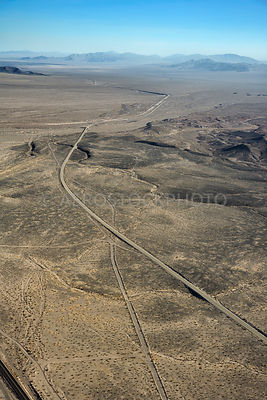 U.S. Route 66 crosses the Mojave Desert 7 miles east of Ludlow,  San Bernardino County, California, USA.
