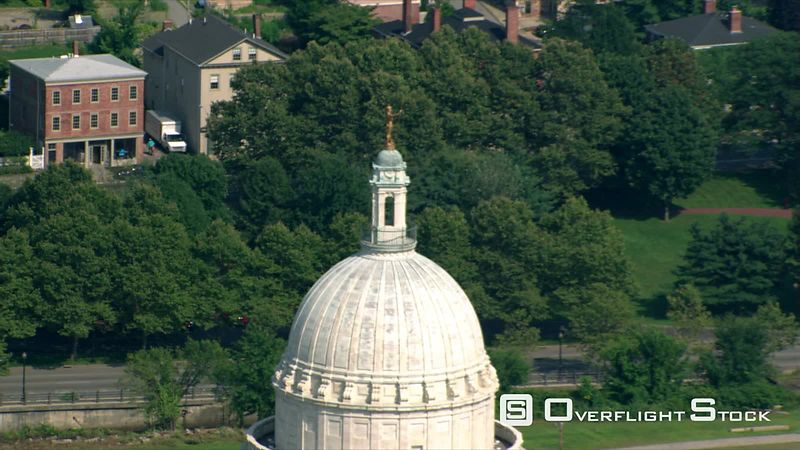 Close flight past Rhode Island Capitol to wide view of Providence.