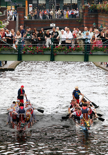 Dragon boat racing on the canal in Brindleyplace, Birmingham.