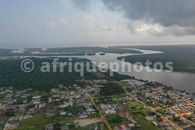 Assinie from above, between lagoon and ocean