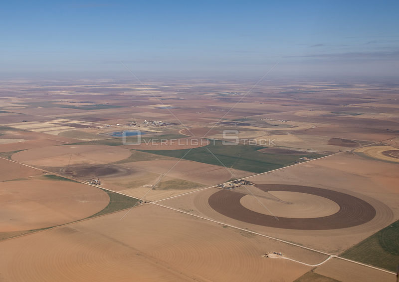 Aerial view of crop fields, circles caused by irrigatation, Playas high plains, Texas, USA