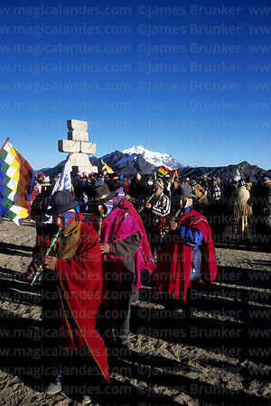 Aymara musicians playing quenas (a type of flute) during Aymara New Year celebrations, La Cumbre, Cordillera Real, Bolivia
