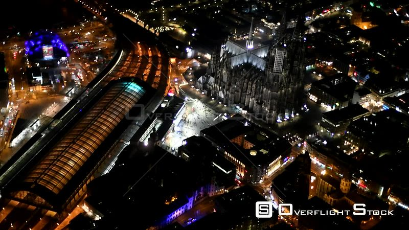 Night aerial video Church building of the cathedral in the old town in Cologne in the state of North Rhine-Westphalia, Germany