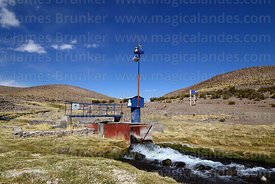 Solar powered gauge measuring flow of River Guallatiri, Las Vicuñas National Reserve, Region XV, Chile