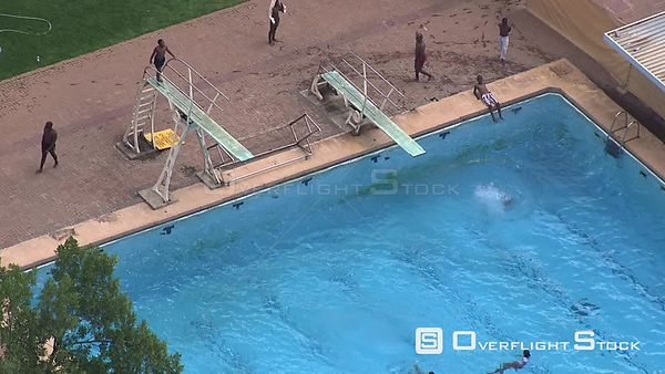 Aerial shot of people swimming in a large swimming pool Bloemfontein Free State South Africa