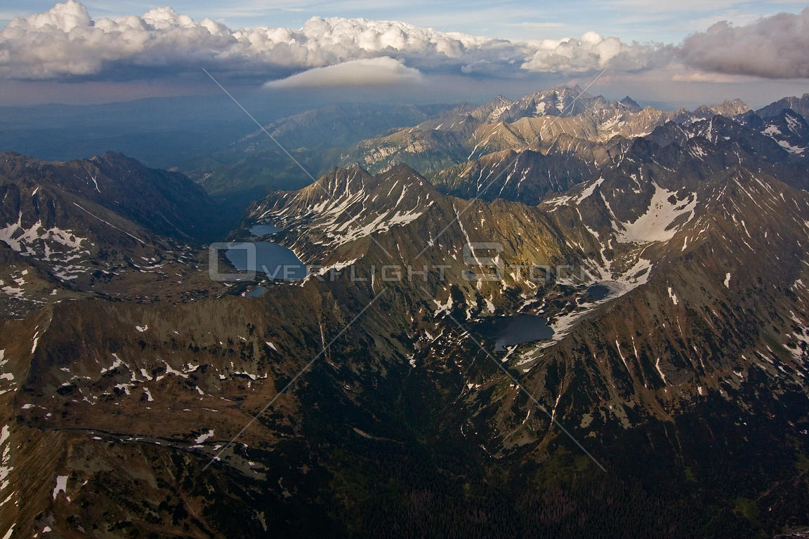 Aerial view of the High Tatras on the Carpathian Mountains, Slovakia-Poland border, Mount Gerlach (2,665m) in the distance, H...