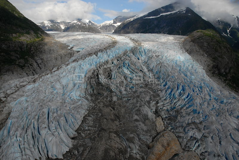 Aerial view of the Mendenhall Glacier, near Juneau, South East Alaska, August 2007