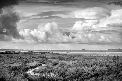 Shower clouds over East Mersea B&W version