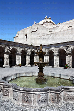Fountain in cloisters of La Compañia de Jesus church , Arequipa , Per