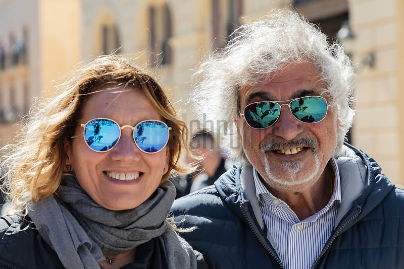 A Portrait of a Couple from Rome During an Easter Parade at Trapani