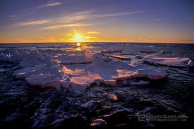 Ice-Floes Backlit at Sunset