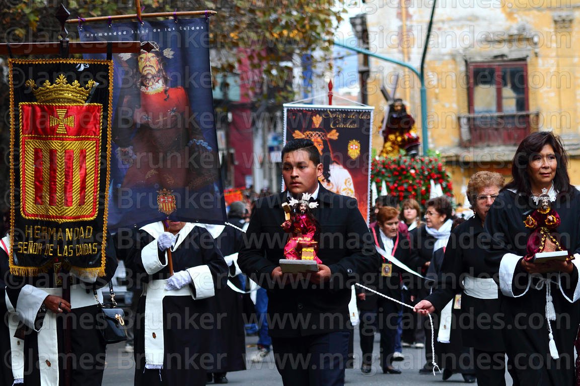Members of brotherhood of Señor de las Caidas / The Fallen Christ during Good Friday procession, Plaza Murillo, La Paz, Bolivia