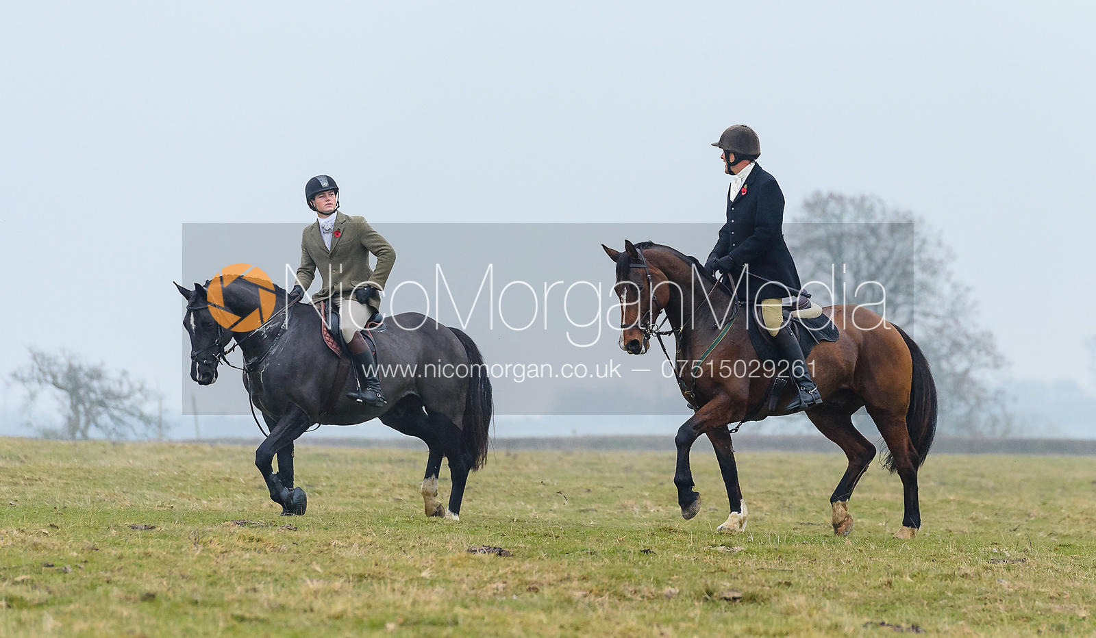 Alexander Tordoff, Charlie Smith above Braunston. The Cottesmore Hunt at Braunston