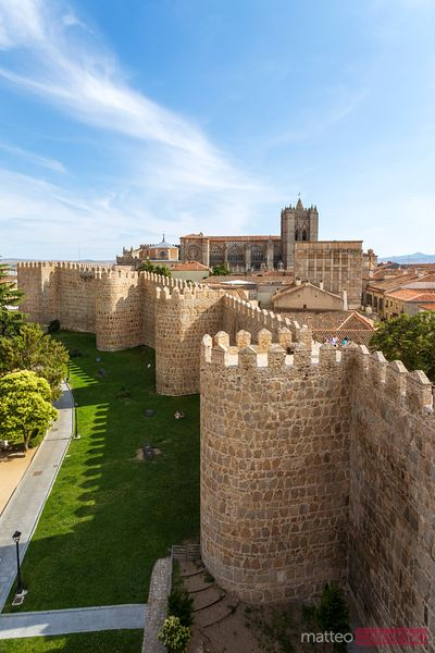 Fortified walls around the old city of Avila, Spain