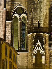Northern facade detail of Clermont Ferrand cathedral