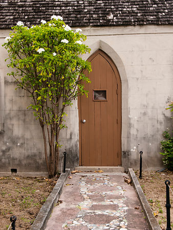 Path & door to a church in Nassau, Bahamas.