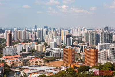 Elevated view of residential district, Singapore