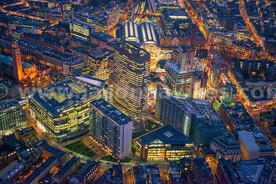 Aerial view of Victoria at night, London