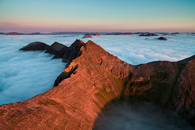Aerial view of Teallach and low lying clouds, Scotland, UK.