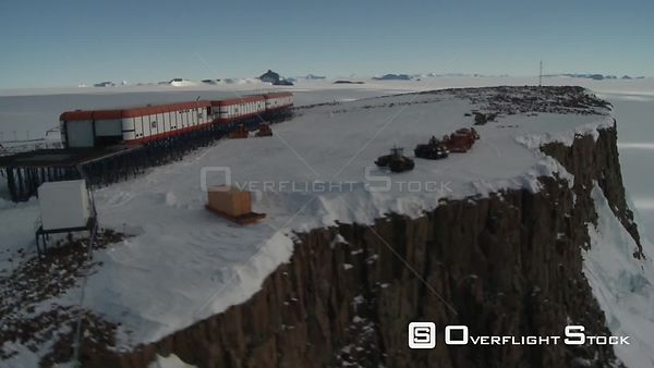 South African ice station atop cliff Antarctica