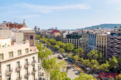 Elevated view of Passeig de Gracia, Barcelona, Spain