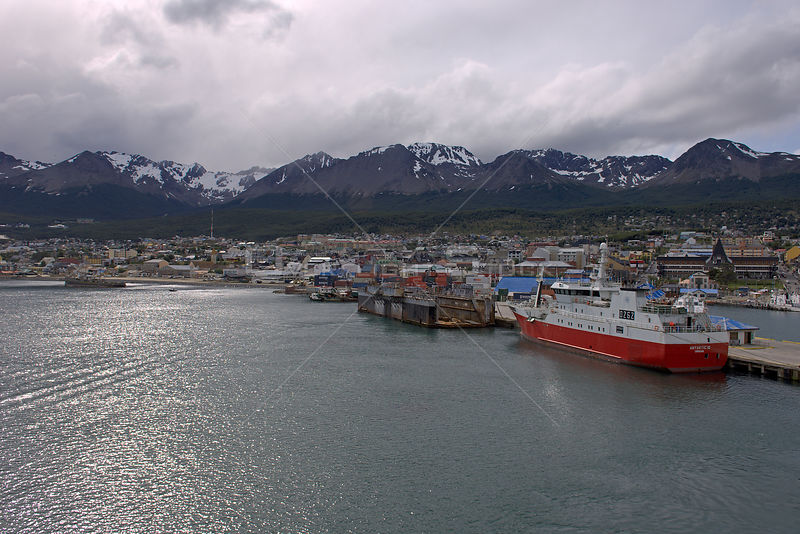 Port and city of Ushuaia taken from the air, Tierra del Fuego, Argentina. January 2007.