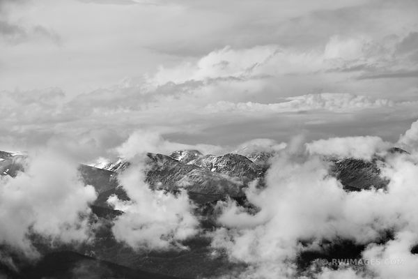 ROCKY MOUNTAINS CLOUDS MOUNT EVANS ROAD SCENIC BYWAY COLORADO BLACK AND WHITE