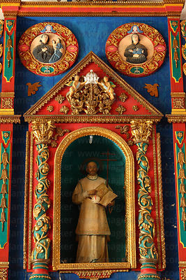 Figure of San Ignacio on painted wooden altar inside Jesuit Mission church, San Ignacio de Moxos, Beni, Bolivia