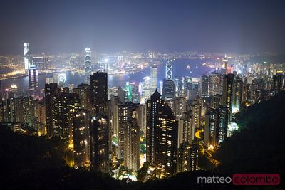 Hong Kong harbor from Victoria peak at night