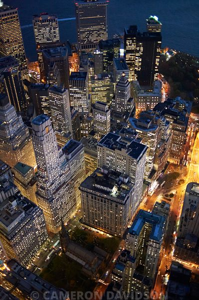Aerial of the New York City Financial District at night
