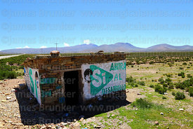 Mural on stone hut showing support for Evo Morales, Cordillera de Sama Biological Reserve, Bolivia