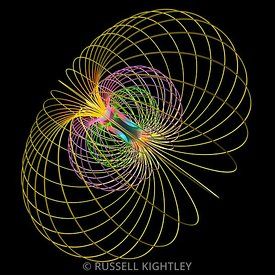 Bar magnet showing magnetic field lines in 3D #2