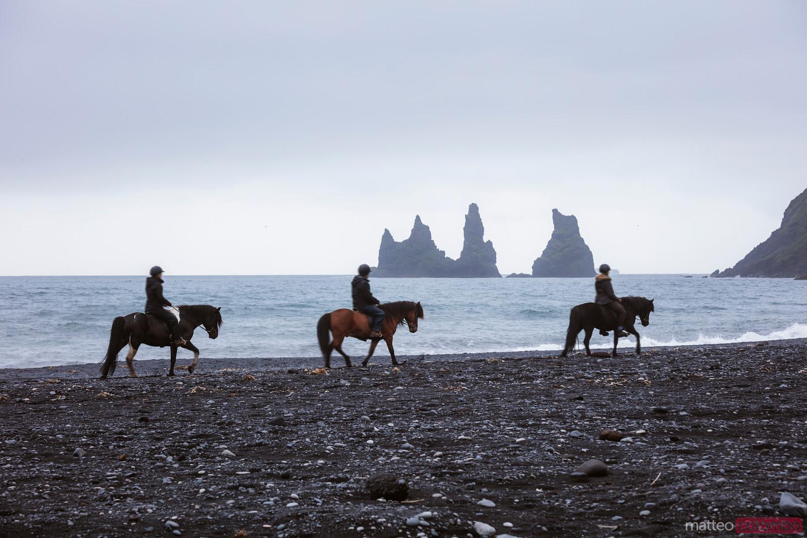 Tourists horseriding on black sand beach, Vik, Iceland