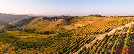 Aerial panorama over Le Langhe vineyards, Piedmont, Italy