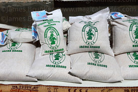Bags of certified jacha grano quinoa seeds (Chenopodium quinoa) in UMSA University Agronomy Faculty, Patacamaya, Bolivia