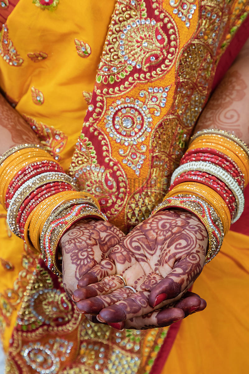 Bride to be Wearing Henna on her Hands
