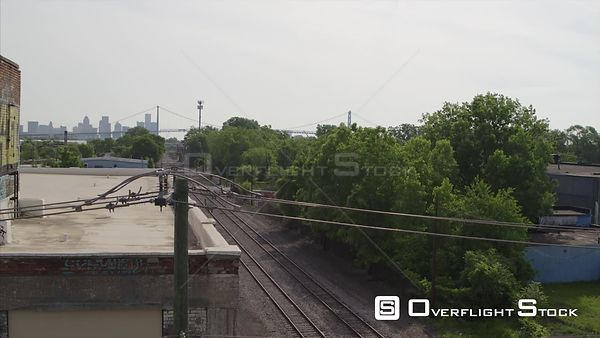 Drone Video Railway Line and Downtown Detroit Michigan