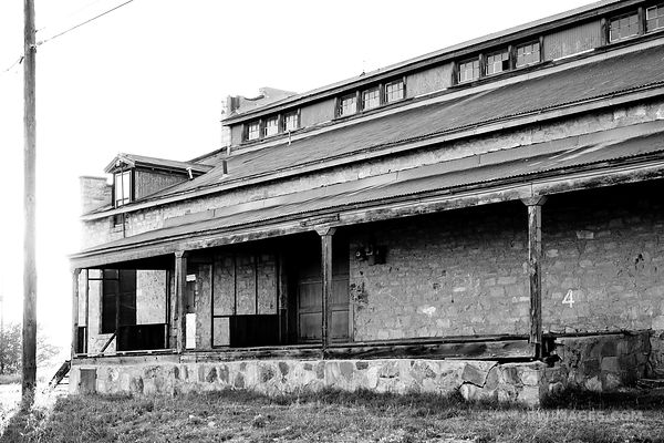 OLD WAREHOUSE ROUTE 66 NEW MEXICO BLACK AND WHITE