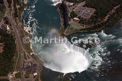 Canadian Horseshoe Falls from the south-west, from the air, Niagara Falls, Ontario, Canada