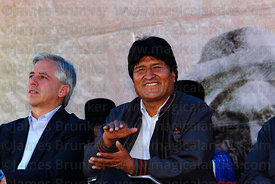Bolivian president Evo Morales applauds at an event to celebrate Bolivia rejoining the 1961 UN Single Convention on Narcotic ...