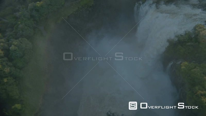 Aerial overhead medium shot looking straight down and circling at top of Victoria Falls Victoria Falls Zimbabwe