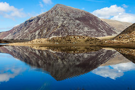 Refelection of Pen yr Ole Wen Mountain in Llyn Idwal