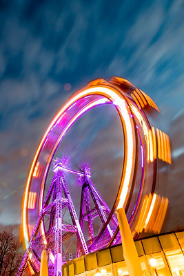 Austria, Vienna, ferris wheel on Prater at blue hour