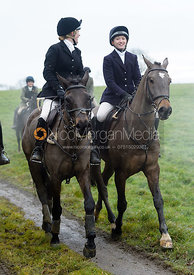 Hermione Brooksbank, Amelia Leeming at Knossington Spinney - The Fitzwilliam Hunt visit the Cottesmore at Burrough House