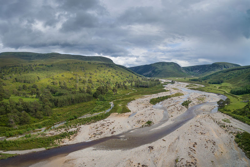 Aerial view of braided channel of River feshie, with regenerating Scots pine (Pinus sylvestris) forest and Carn Dearg Mor in ...