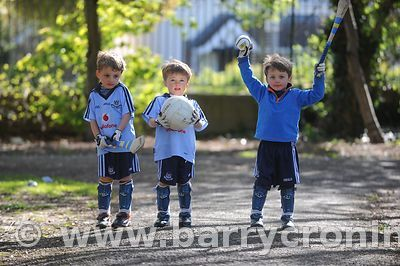 21st April, 2012. Castleknock GFC football nursery, Carpenterstown, Dublin. Pictured from Left: Liam, Ferdia and Ronan Ward, ...