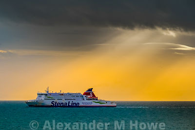 Stena Line Superfast X RoRo Ferry crossing the Irish Sea with dramatic skies above