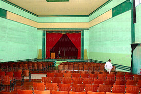 Interior of theatre of abandoned nitrate mining town of Humberstone, Region I, Chile