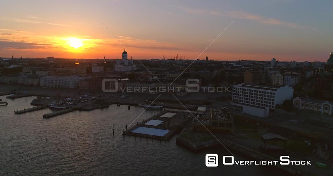 Sunset City, Aerial Sideway View of the South Harbour, the Cathedral and the Market Square , on a Sunny Summer Evening Dusk, ...